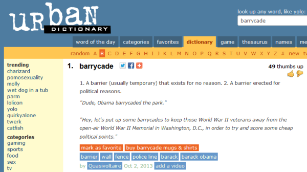 barrycade (urban dictionary)