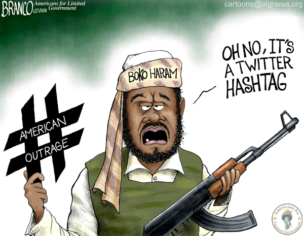 branco cartoon (boko haram twitter hashtag)