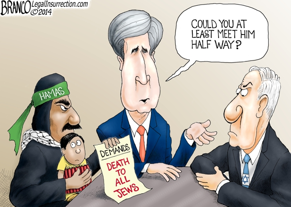branco cartoon (hamas negotiations JohnBoy Kerry)