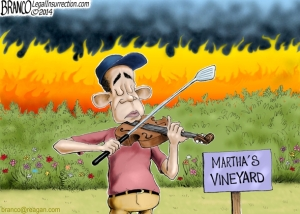 branco cartoon (POTUS fiddles)