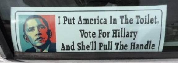 bumper sticker (Miz Hillary down the toilet)