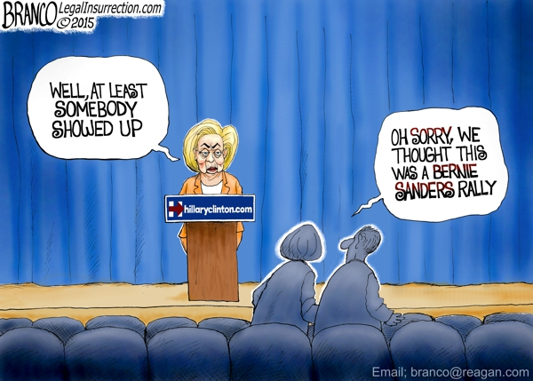 branco cartoon (miz hillary political crowd Bernie Sanders)