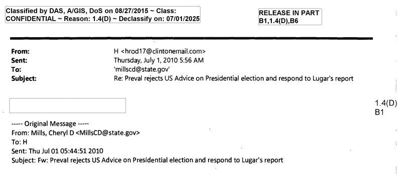 Miz Hillary (e mail)(classified material)